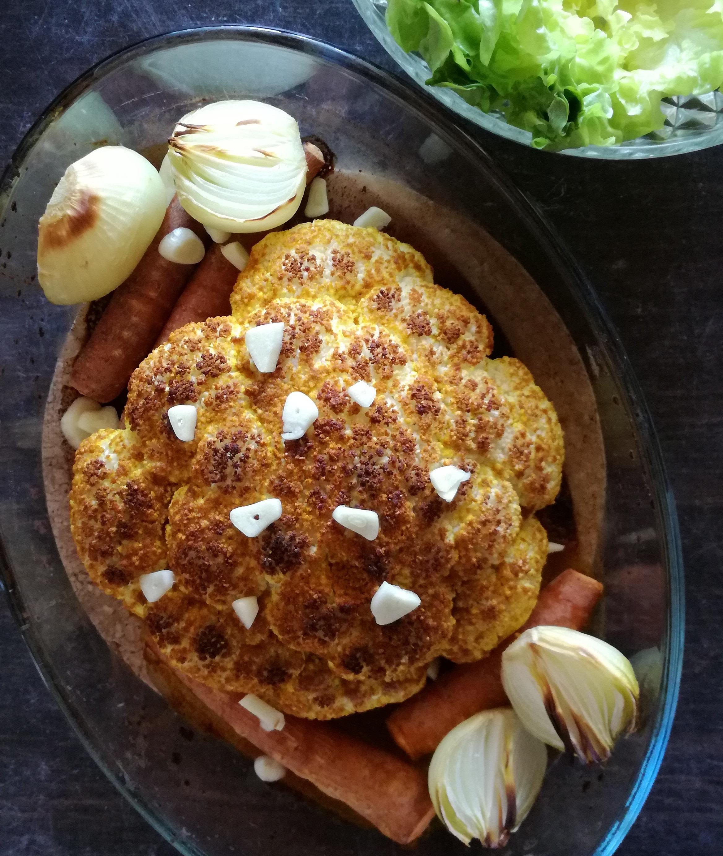 chou fleur rôti au curry vegan et sans gluten médical médium compatible