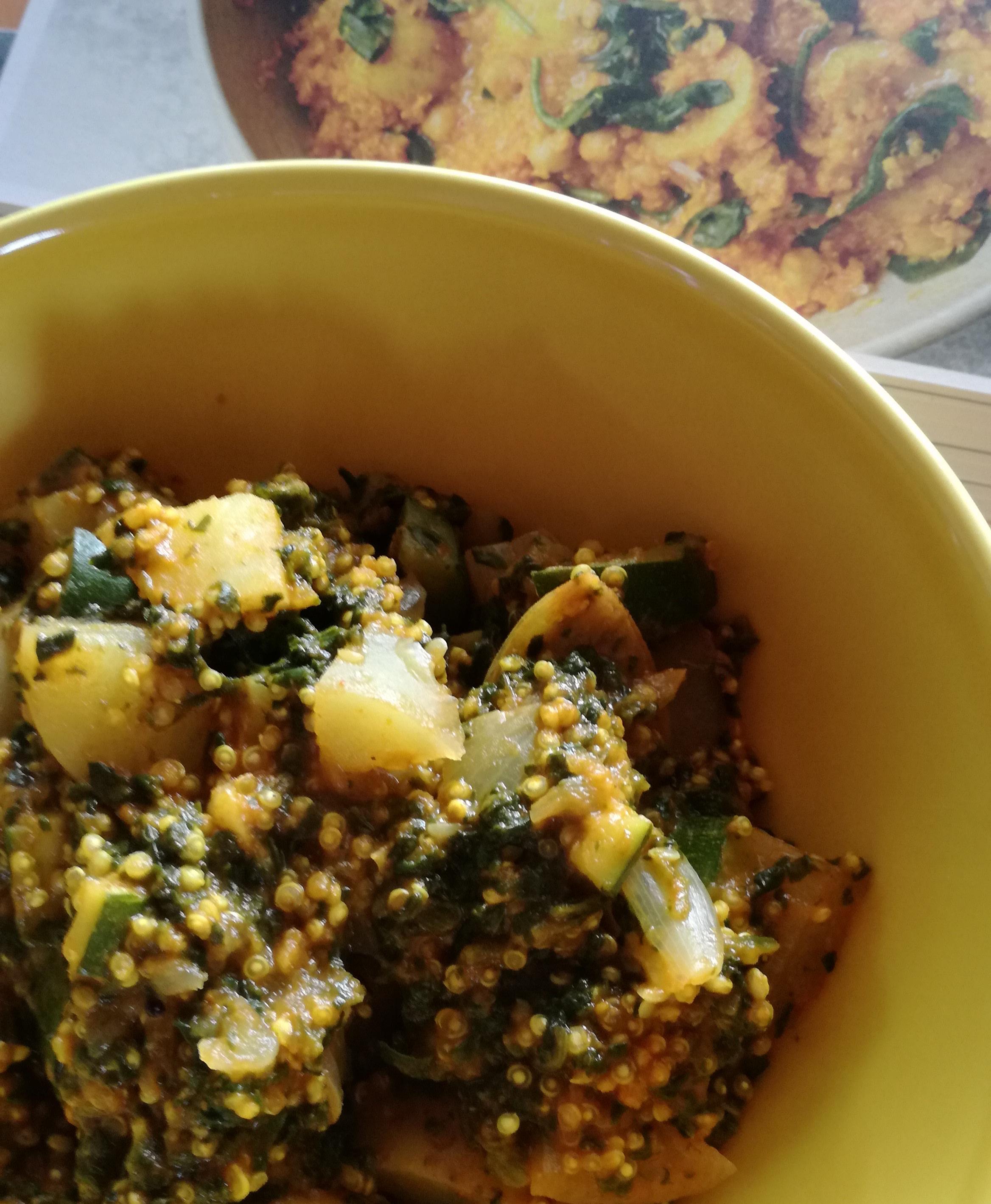 zoom avec livre recette curry de quinoa et légumes vegan et sans gluten médical médium compatible
