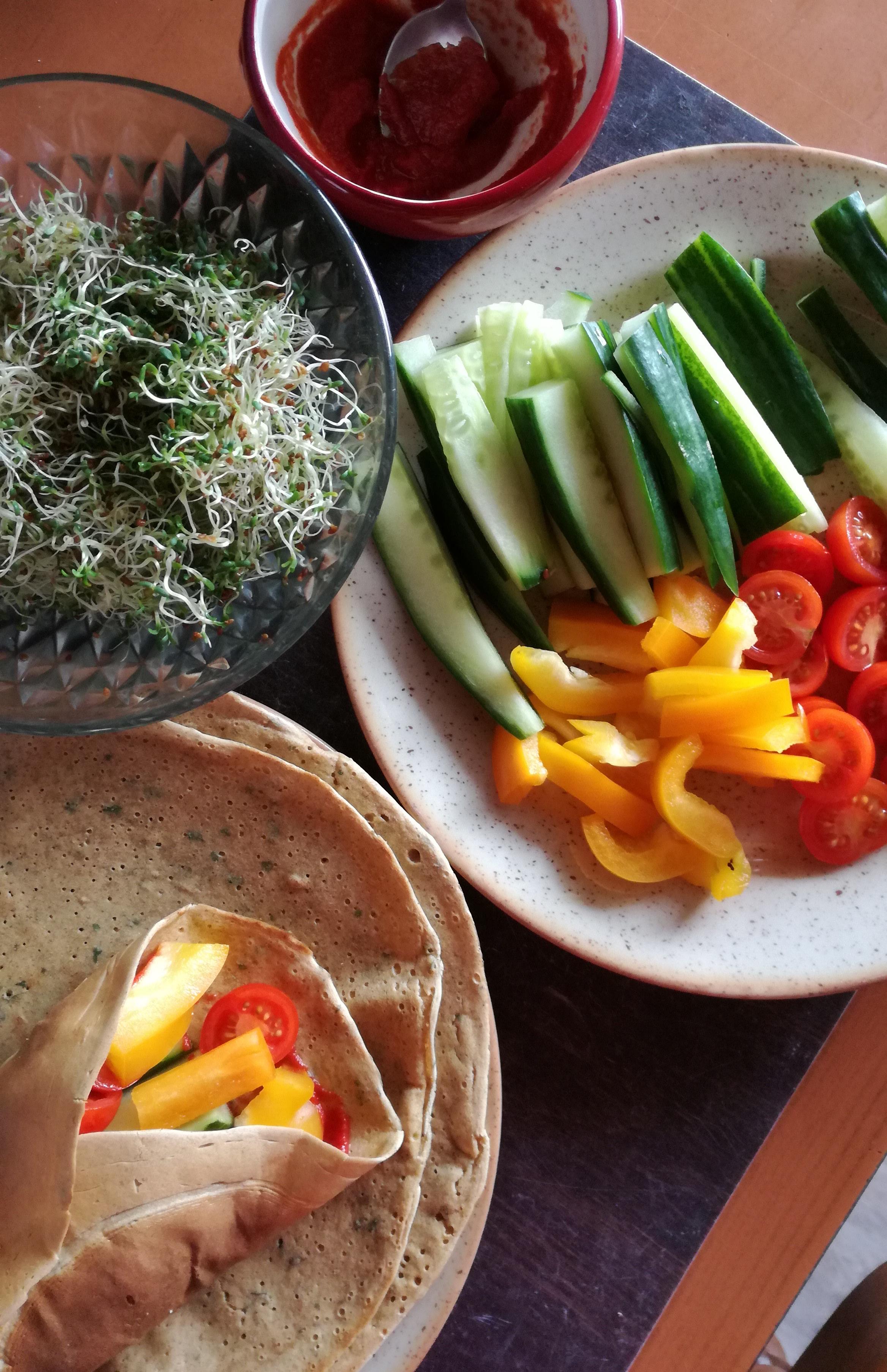 wrap de pois chiche pour burritos et crudités vegan et sans gluten médical médium compatible