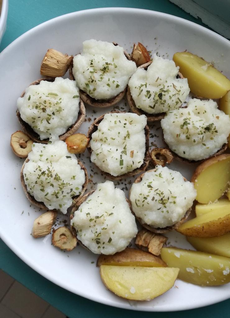 champignons farcies à la purée de chou-fleur vegan et sans gluten médical médium compatible