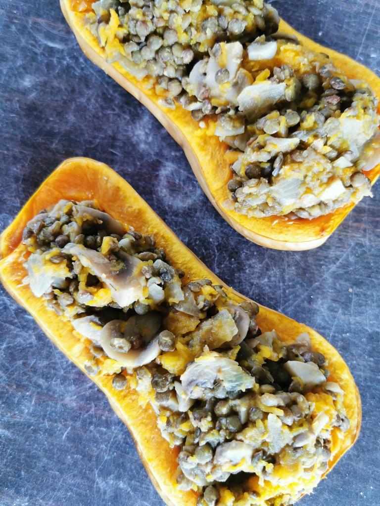 butternut farcie aux lentilles vegan et sans gluten médical médium compatible
