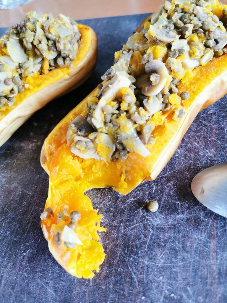 zoom butternut farcie aux lentilles vegan et sans gluten médical médium compatible