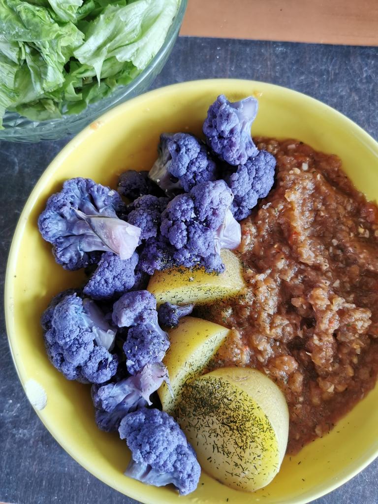 caviar d'aubergine et chou fleur violet vegan et sans gluten médical médium compatible