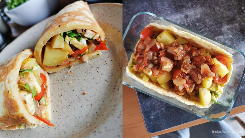 tortillas de pommes de terre découpées et crudités vegan et sans gluten médical médium compatible