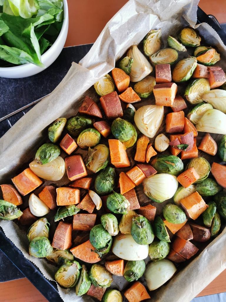 patate douce et choux de Bruxelles rôtis vegan et sans gluten médical médium compatible