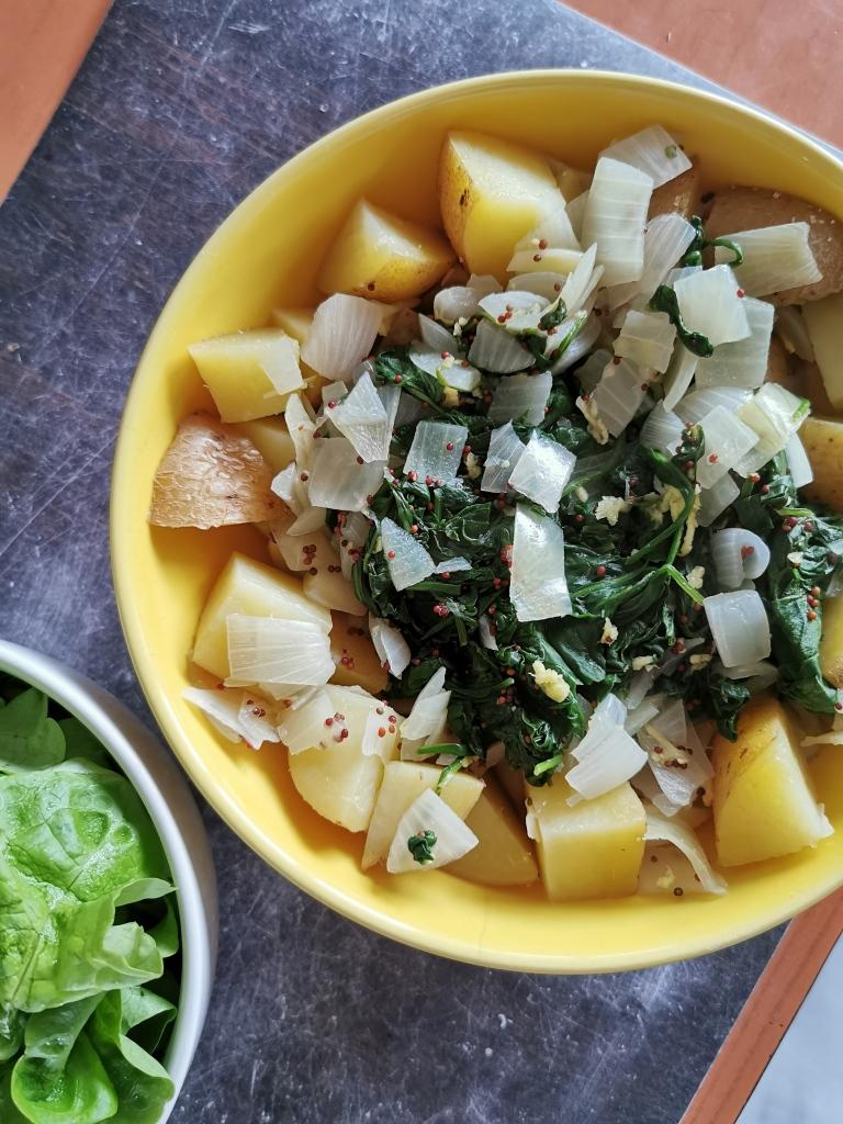 assiette épinards gingembre citron et pommes de terre vegan et sans gluten médical médium compatible