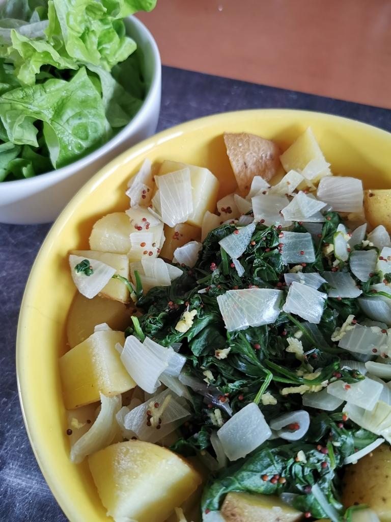 zoom assiette épinards gingembre citron et pommes de terre vegan et sans gluten médical médium compatible