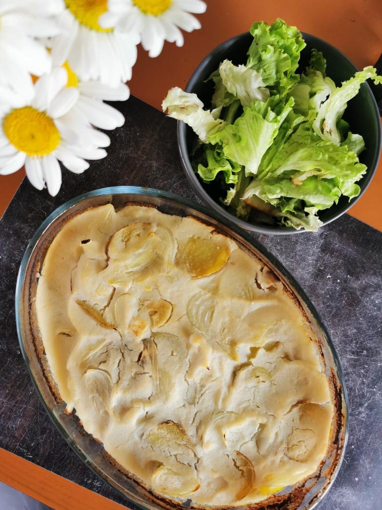 gratin dauphinois dans gras au chou fleur vegan et sans gluten médical médium compatible