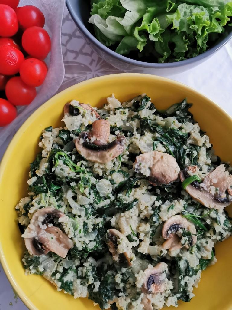 risotto crémeux de millet aux champignons et épinards vegan et sans gluten médical médium compatible