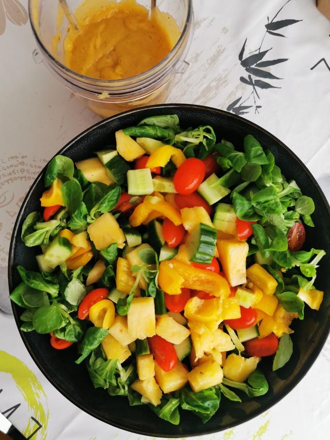 salade ananas sauce mangue chili gingembre vegan cru sans gluten médical médium compatible