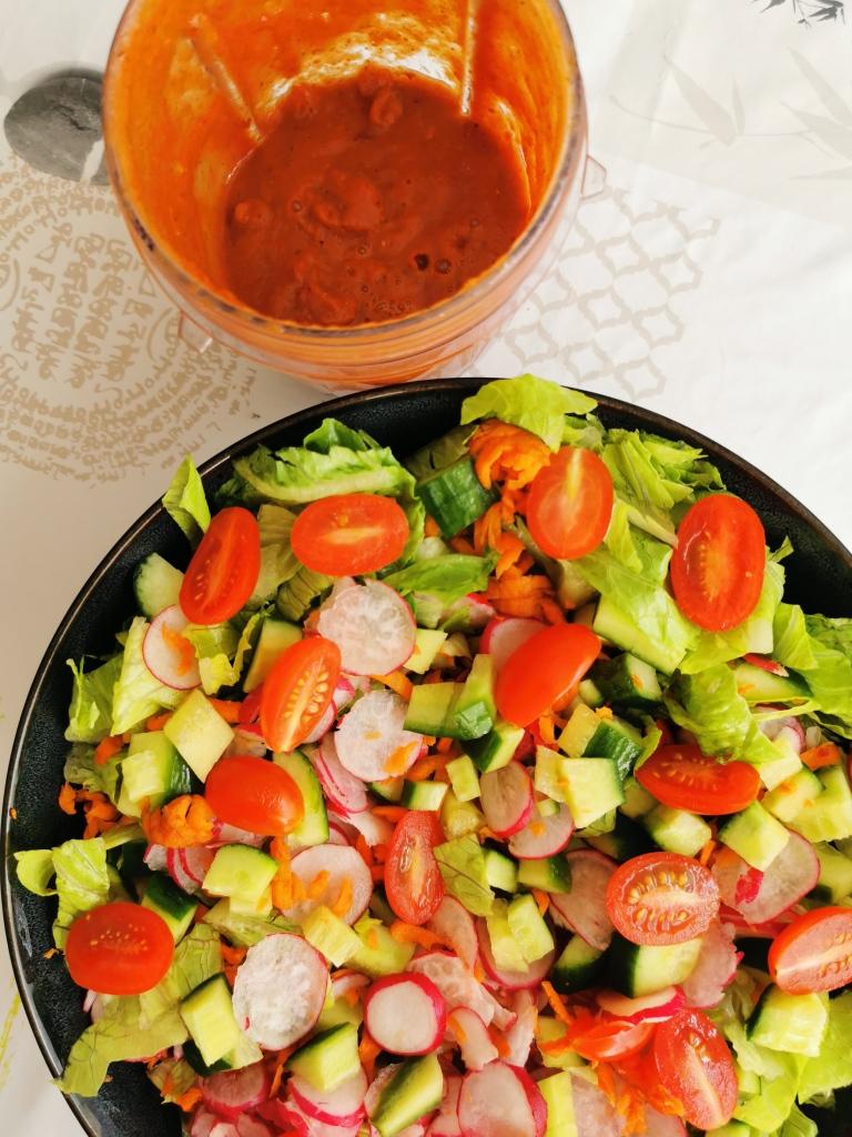 salade sauce barbecue crue vegan sans gluten sans gras medical medium
