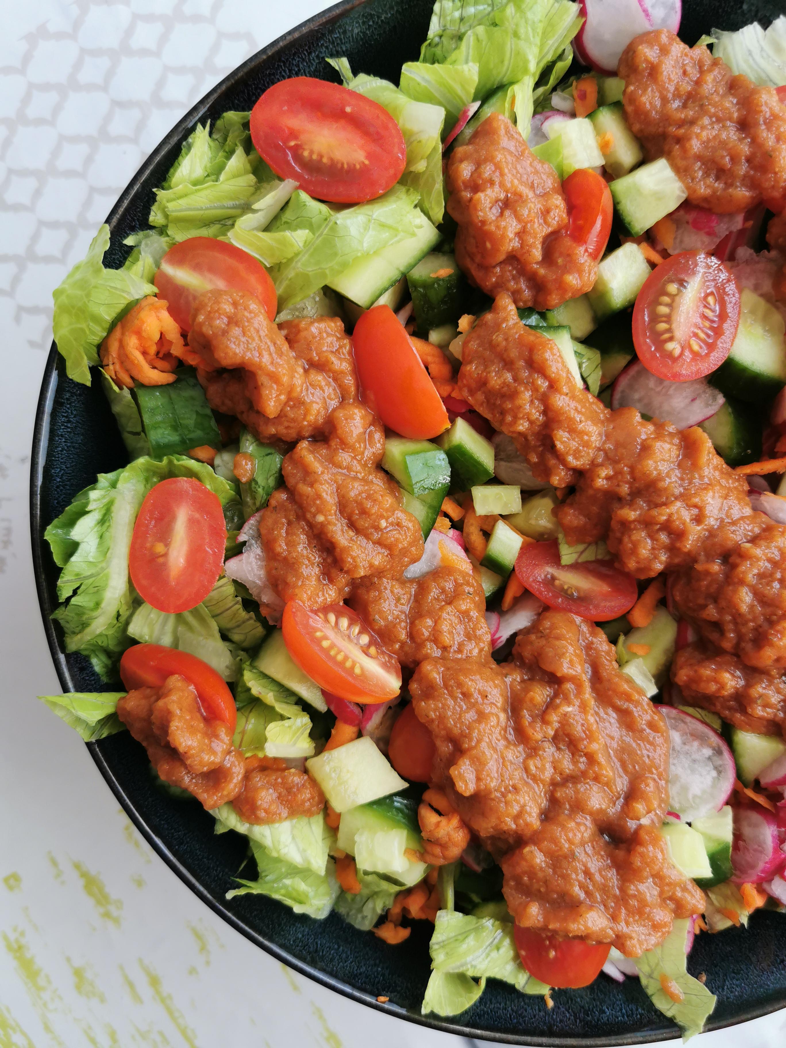 zoom salade sauce barbecue crue vegan sans gluten sans gras medical medium