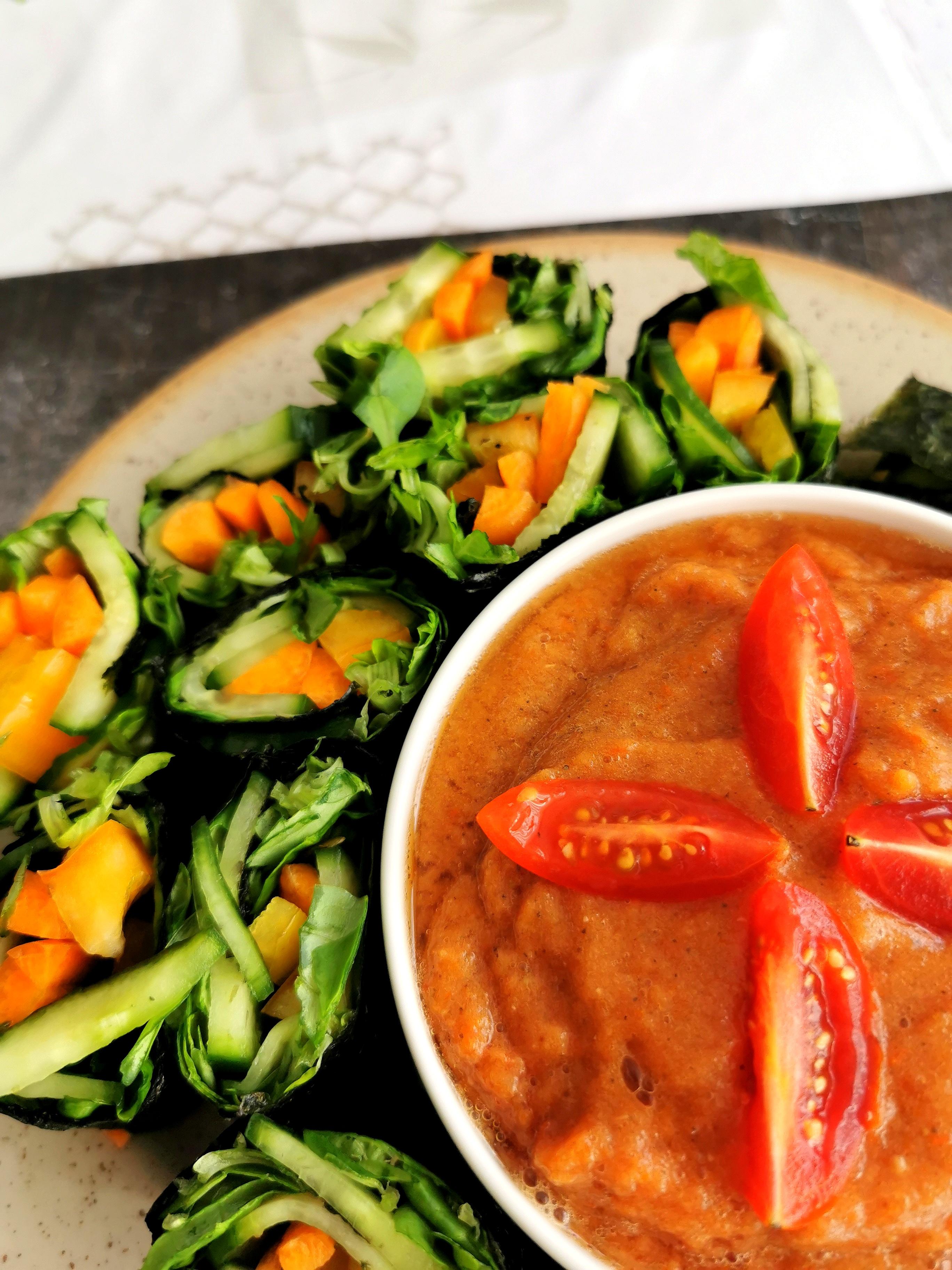 Rouleaux de nori vegan, sans gluten, cru, avec sauce, medical médium compatible